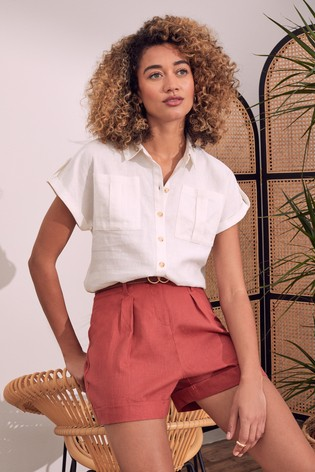 Love & Roses Ivory Patch Pocket Roll Sleeve Shirt