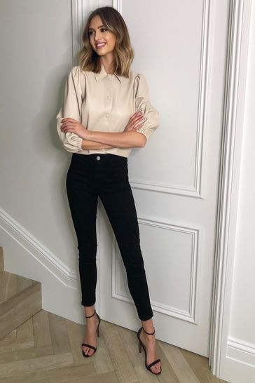 Lipsy Faux Leather Black Regular High Rise Skinny Selena Jean