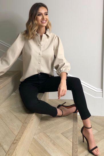 Lipsy Faux Leather Black Petite High Rise Skinny Selena Jean
