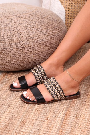 Linzi Black Raffia And Faux Leather Double Strap Sandal