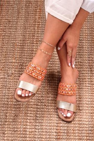 Linzi Orange Raffia And Faux Leather Double Strap Sandal