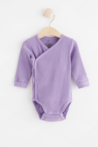 Lindex Baby Purple Wrap-Over Bodysuit