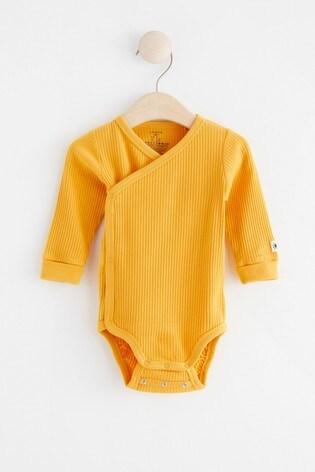 Lindex Baby Yellow Wrap-Over Bodysuit