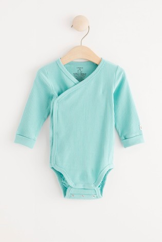 Lindex Baby Aqua Wrap-Over Bodysuit