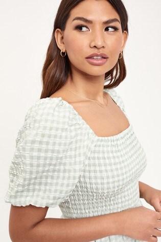 Lipsy Green Gingham Regular Shirred Puff Sleeve Midi Dress
