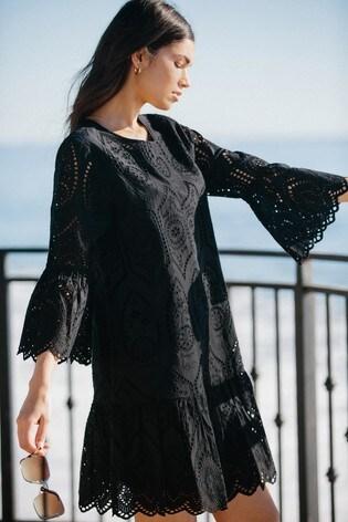 Lipsy Black Broderie Flute Sleeve Shift Dress