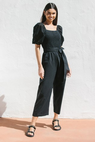 Lipsy Black Regular Broderie and Linen Blend Jumpsuit