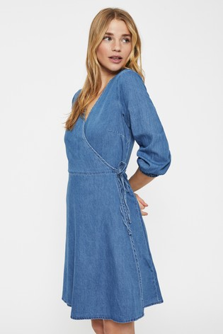 Vero Moda Blue Denim Wrap Mini Dress