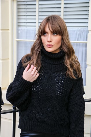 Little Mistress Black Chunky Cable Knit Jumper