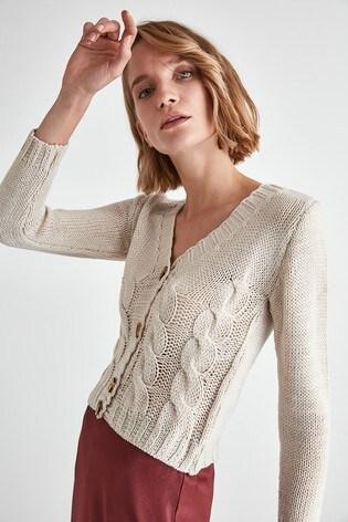 Trendyol Cream Knit Button Cardigan