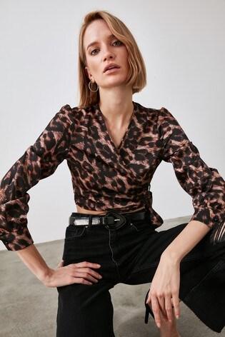 Trendyol Black Leopard Print Wrap Top