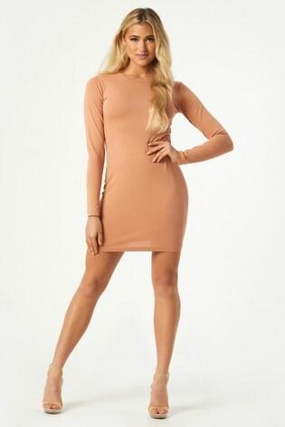 Little Mistress Valentin Long Sleeve Bodycon Mini Dress