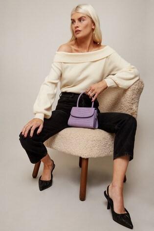 Little Mistress White Foldover Bardot Knit Top