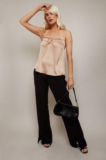 Little Mistress Black Forever Split Hem Boot Cut Tailored Trousers