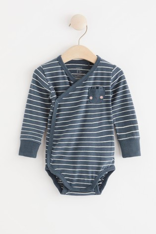 Lindex Navy Baby Wrap-Over Bodysuit