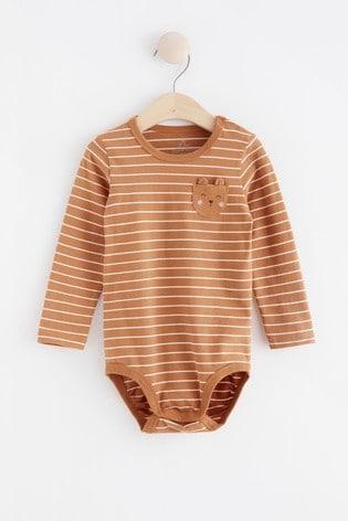 Lindex Brown Stripe Baby Long Sleeved Bodysuit