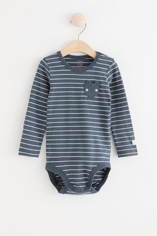 Lindex Dusty Blue Baby Long Sleeved Bodysuit