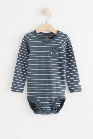 Lindex Baby Navy Long Sleeved Bodysuit