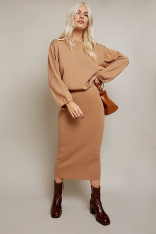 Little Mistress Camel Admire Knitted Top Co-ord