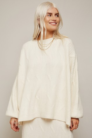 Little Mistress Cream Admire Geo Ribbed Oversized Jumper Co-ord