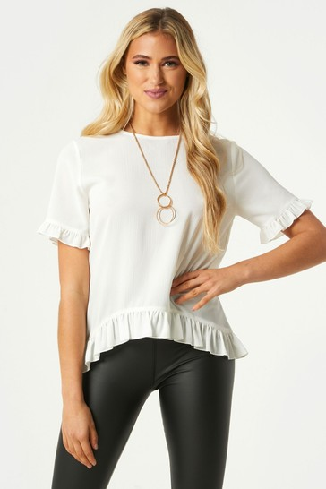 Little Mistress White Solo Chain Detail Frill Top