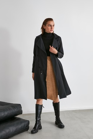 Trendyol Black Trench Coat