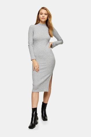 Topshop Ribbed Leg Split Midi Dress