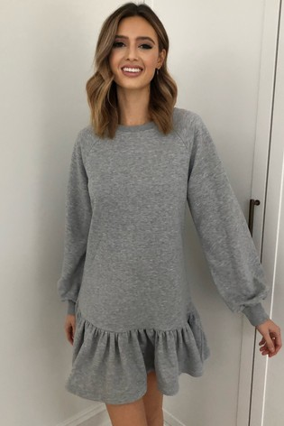 Lipsy Grey Frill Sweater Dress