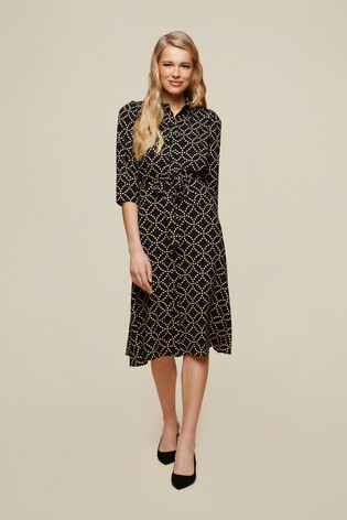 Dorothy Perkins Black Non Print Midi Shirt Dress