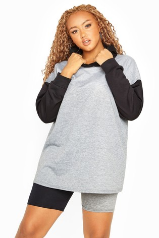 Yours Black and Grey Curve Contrast Hoodie