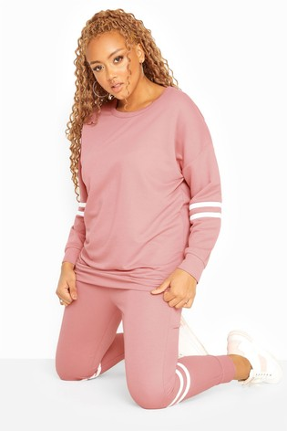 Yours Pink Curve Varsity Stripes Sweatshirt