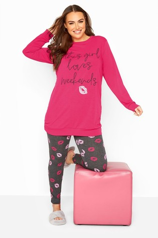 Yours Pink Curve 'This Girl Loves Weekends' Pyjama Set