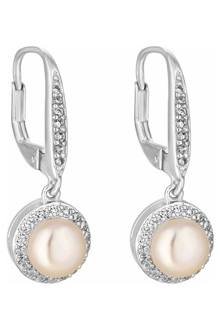 Simply Silver Silver and White Freshwater Pearl And Cubic Zirconia Halo Earrings