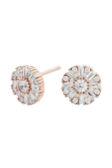 Simply Silver Rose Gold Sterling Silver 14ct Baguette Halo Earrings