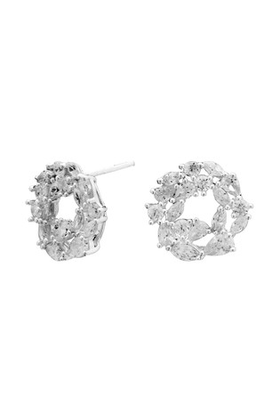 Simply Silver Silver Cubic Zirconia Marquise Cluster Open Earrings