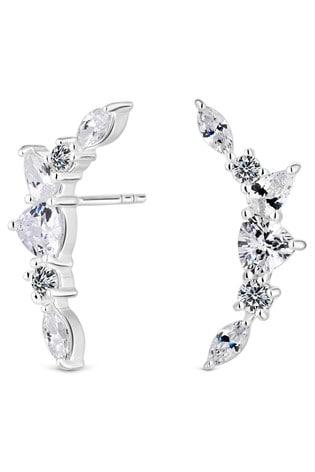 Simply Silver Silver Cubic Zirconia Stone Ear Climber Earrings
