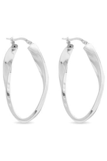 Simply Silver Silver Polished Oval Twist Hoop Earrings