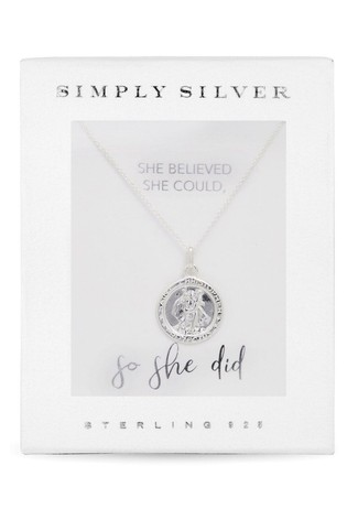 Simply Silver Silver Polished St Christopher Pendant Necklace in a Gift Box