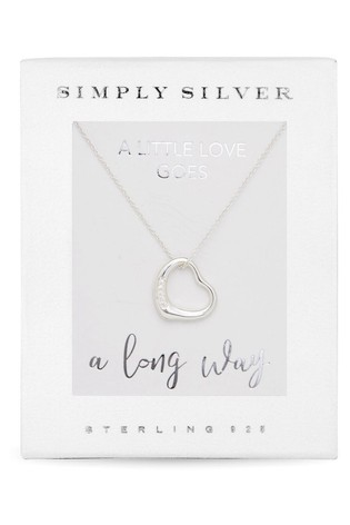 Simply Silver Silver Cubic Zirconia Open Heart Pendant Necklace in a Gift Box