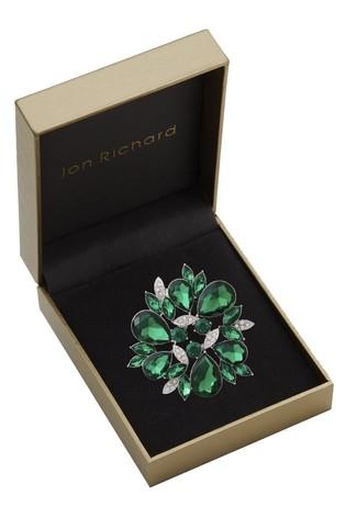 Jon Richard Green Mixed Stone Circle Brooch in a Gift Box