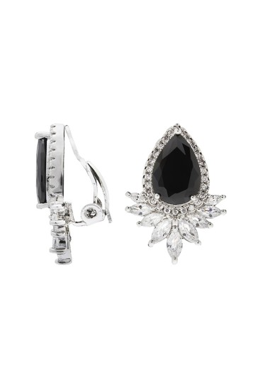 Jon Richard Black Pear Navette Cubic Zirconia Stud ClipOn Earrings