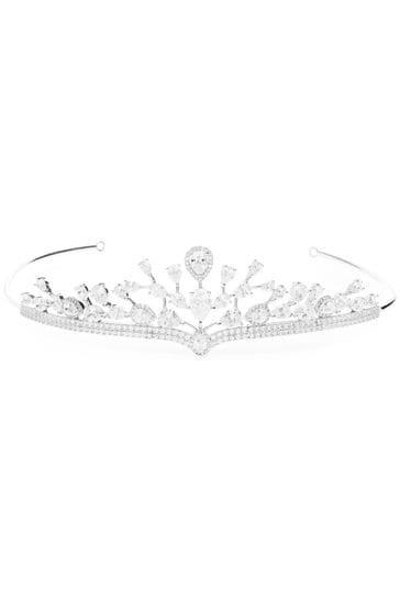 Jon Richard Silver Aurora Cubic Zirconia Halo Pear Statement Crown Tiara
