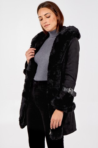 Blue Vanilla Black Edge To Edge Faux Fur Trim Hood Coat