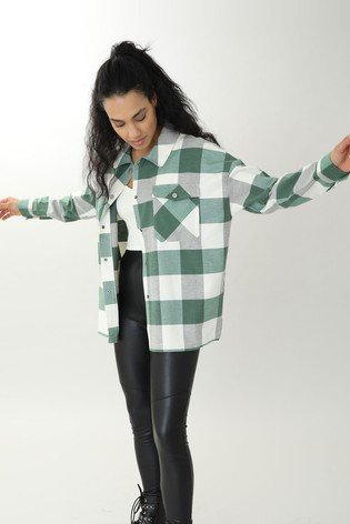 Pimkie Green and White Checked Shirt