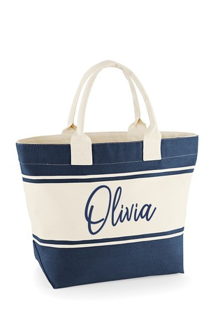 Personalised Stripe Beach Bag by Loveabode