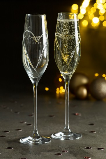 Set of 2 Personalised Diamanté Champagne Glasses by Loveabode
