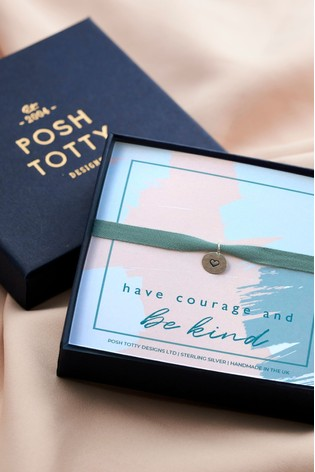 Personalised Heart Disc Bracelet Gift Box by Posh Totty Designs