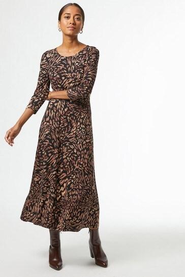 Dorothy Perkins Neutral Petites Animal Empire Seam Midi Dress