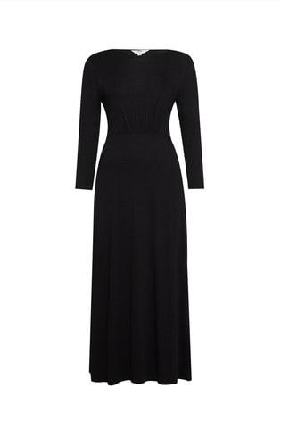Dorothy Perkins Black Tall 3/4 Sleeve Empire Seam Midi Dress
