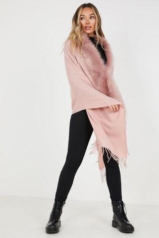 Quiz Pink Faux Fur Collar Cape
